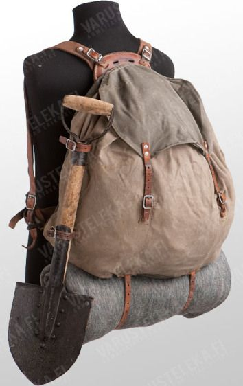 Antique Swedish Army M39 steel frame pack in canvas and leather