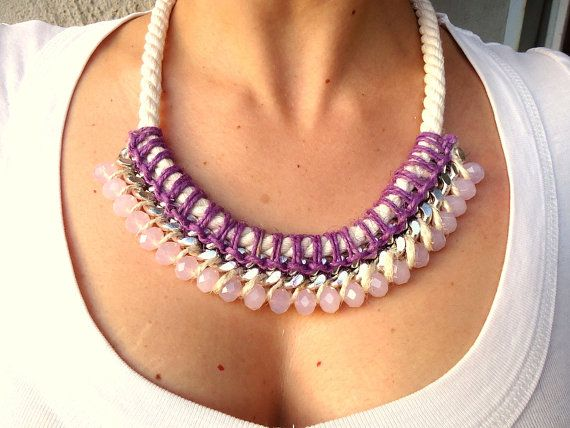 Radiant Orchid / Pale Pink Bib Rope and Chain by CreationsByAlina, $39.00