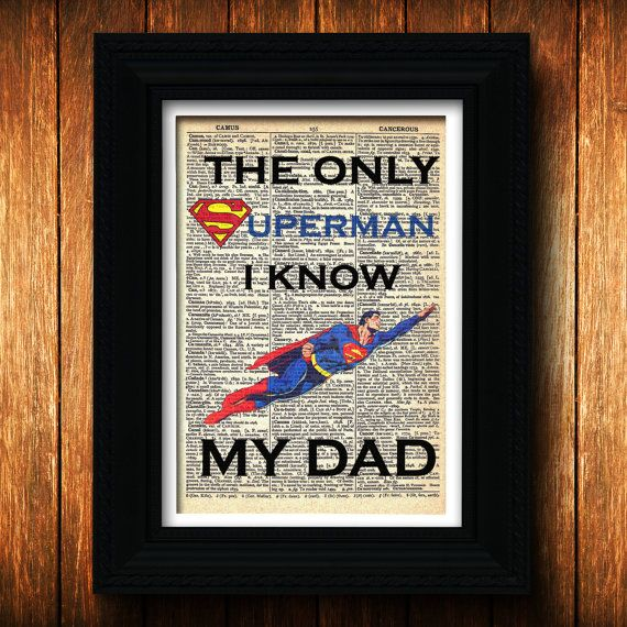 Jamil's first father's day? Superman Dad poster on vintage dictionary paper-Geeky gift for dad-Superman poster for father-Clark Kent Superman Dad-DC Comics poster Daddy... $10