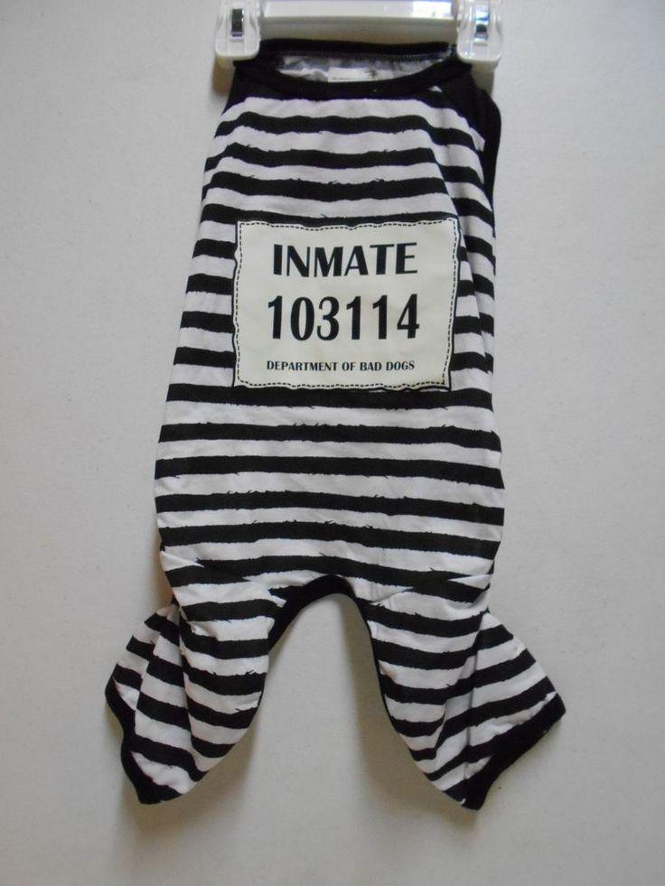 Inmate Costume NEW Prisoner Hallween Pet Costume SIZE Medium Unisex Jailed Dog…