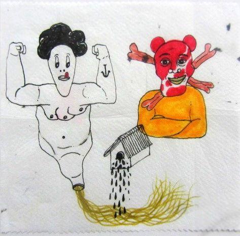 Artista: Ricardo Muñoz Izquierdo, Hombre Embudo, dibujo sobre servilleta, 14x14 cm, + PA.  Artist: Ricardo Muñoz Izquierdo, Man Funnel , drawing on napkin, 14x14 cm, + PA .