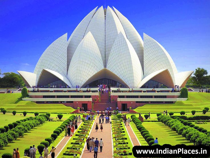 Beautiful View Of Lotus Temple Also Known As Bahai House Of Worship New Delhi India By