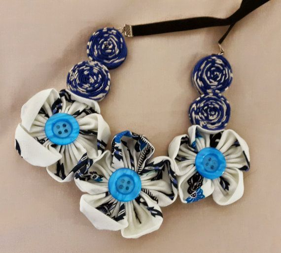 Ratih Flower Batik Necklace White/Blue by Bagoes on Etsy