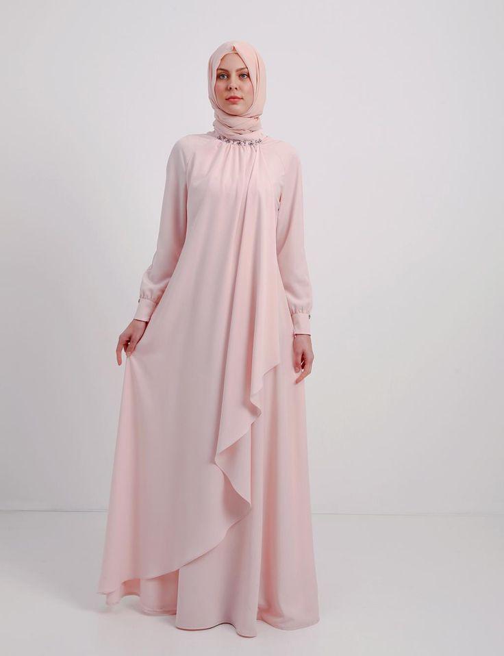 Kayra pembe bol tesettürlü elbise B4 23066 ELBİSE PUDRA