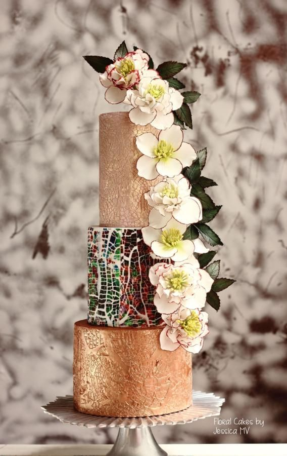 MOSAIC WEDDING CAKE by Jessica MV - http://cakesdecor.com/cakes/269410-mosaic-wedding-cake