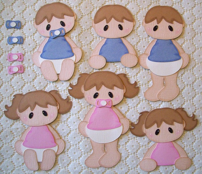 A toddler boy & girl paper piecing set I made for a customer. She requested the pacifiers so she could attach to the pieces as needed. :)