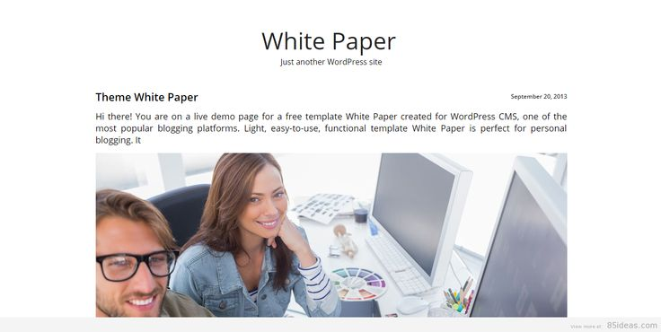White Paper Theme  Minimalist Wordpress Themes    User