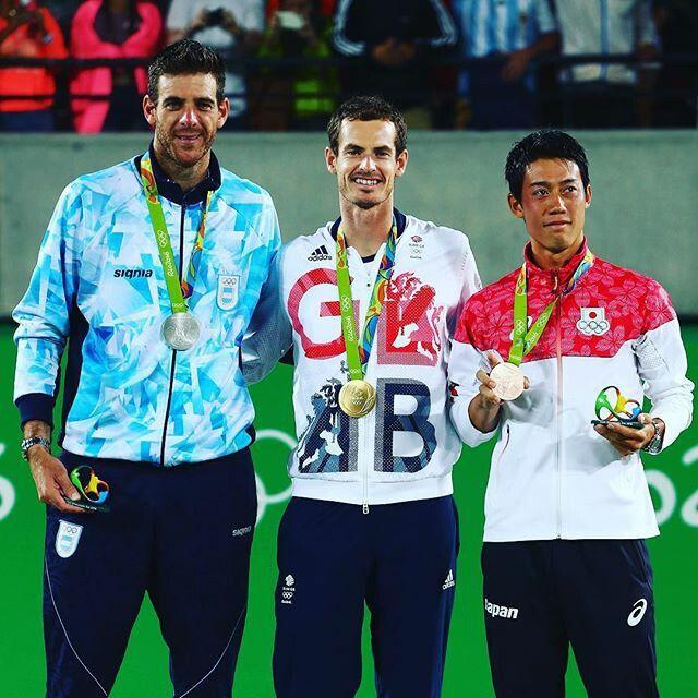 Juan Martin Del Potro (silver), Andy Murray (gold) & Kei Nishikori (bronze) Olympics Rio 2016