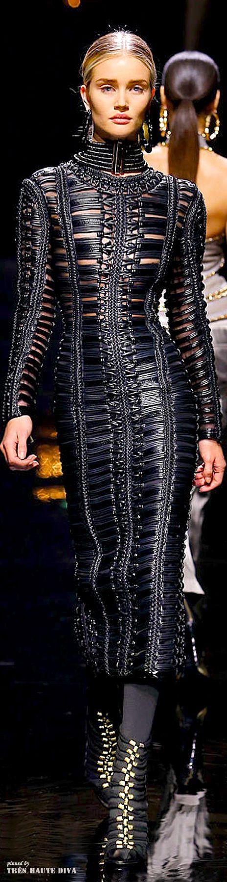 Balmain F/W 2014 - Paris Fashion Week - This leather dress and the cut
