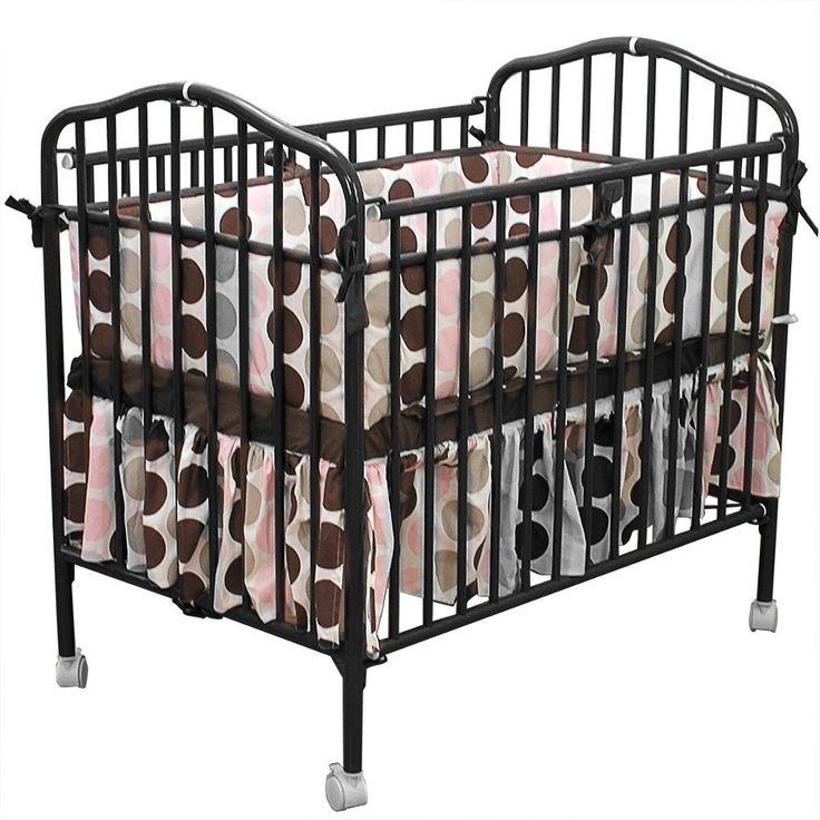 Black Metal Folding Crib With 2 Flame Retardant Mattress