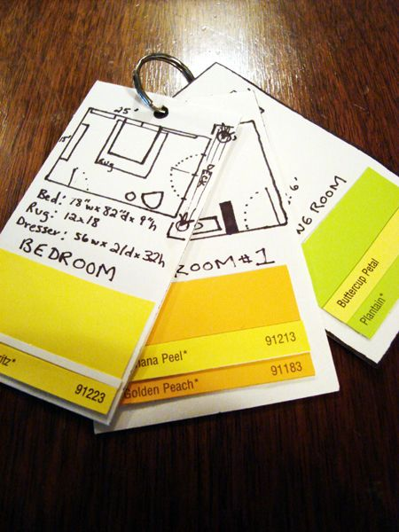 Pocket sized floor plans to carry with you when buying furniture, accessories ,etc. that have dimensions and paint swatches on them. Genius!