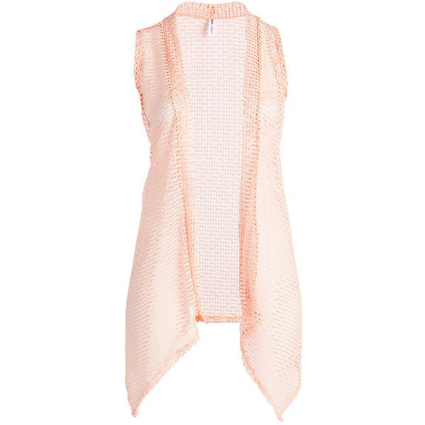 Hot Ginger Peach Lace Sleeveless Open Cardigan (£6.92) ❤ liked on Polyvore featuring plus size women's fashion, plus size clothing, plus size tops, plus size cardigans, plus size, sleeveless cardigan, long open cardigan, pink cardigan and long open front cardigan