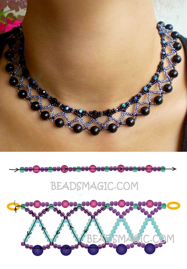 Free pattern for necklace Nicole seed beads 11/0 faceted round beads 4 mm round beads 8 mm