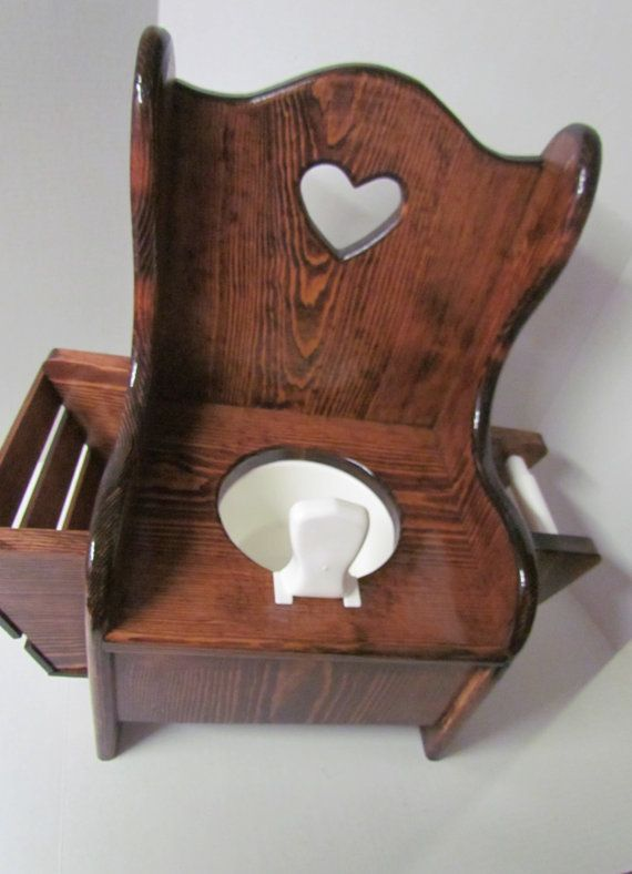 Wooden Potty Chair with Book rack and Toilet by Grampasworkshop
