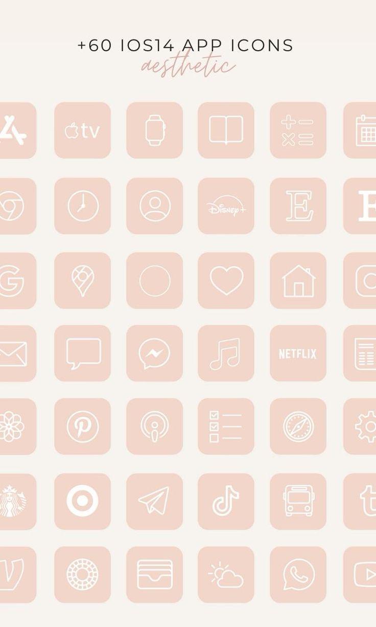 Beach pastel aesthetic ios 14 app icons. IOS14 Icons iPhone App Neutral Pastel Peach Blush ...