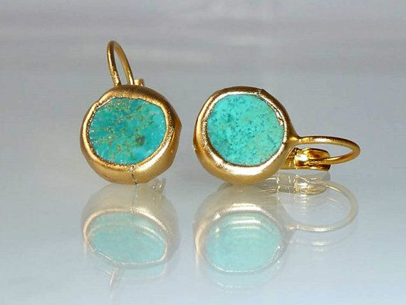 Turquoise earrings, simple everyday, ocean jewelry,framed stone, Gold post fashion earrings.