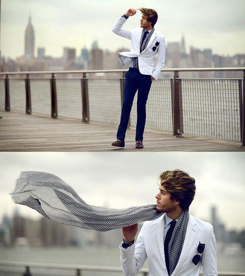 Men's fashion | Blazer, Zzegna Scarf, Trousers, Tie | Blown away! (by Adam Gallagher) | LOOKBOOK.nu