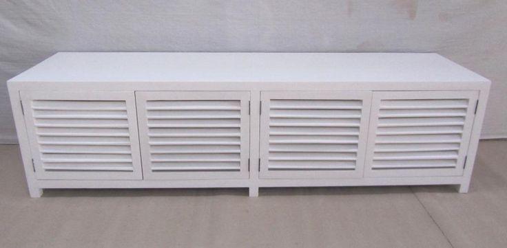 Witte Koloniale TV Dressoir / TV kast met 4 louvre deuren - Teakhouten Meubelen Outlet| Goedkoop Teak en Landelijke tafels,kasten en tv-meubels|