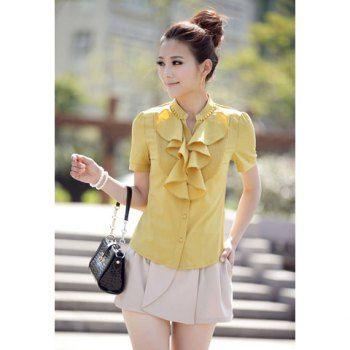 Camisa de gasa elástica de la Mujer con volante al estilo coreano stand de diseño de cuello de manga corta para Vender - La Tienda En Online IGOGO.ES