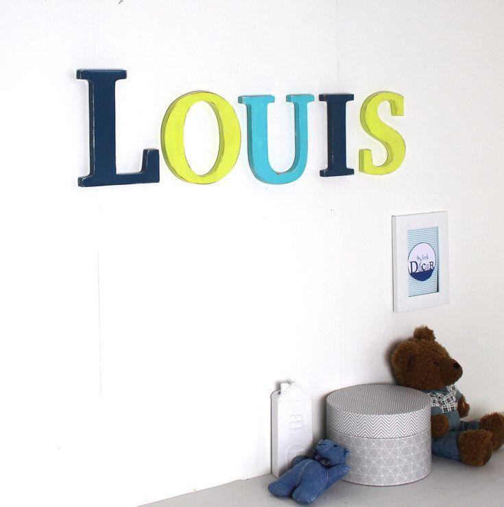 88 best lettres en bois images on pinterest wood letters for Decoration en bleu turquoise