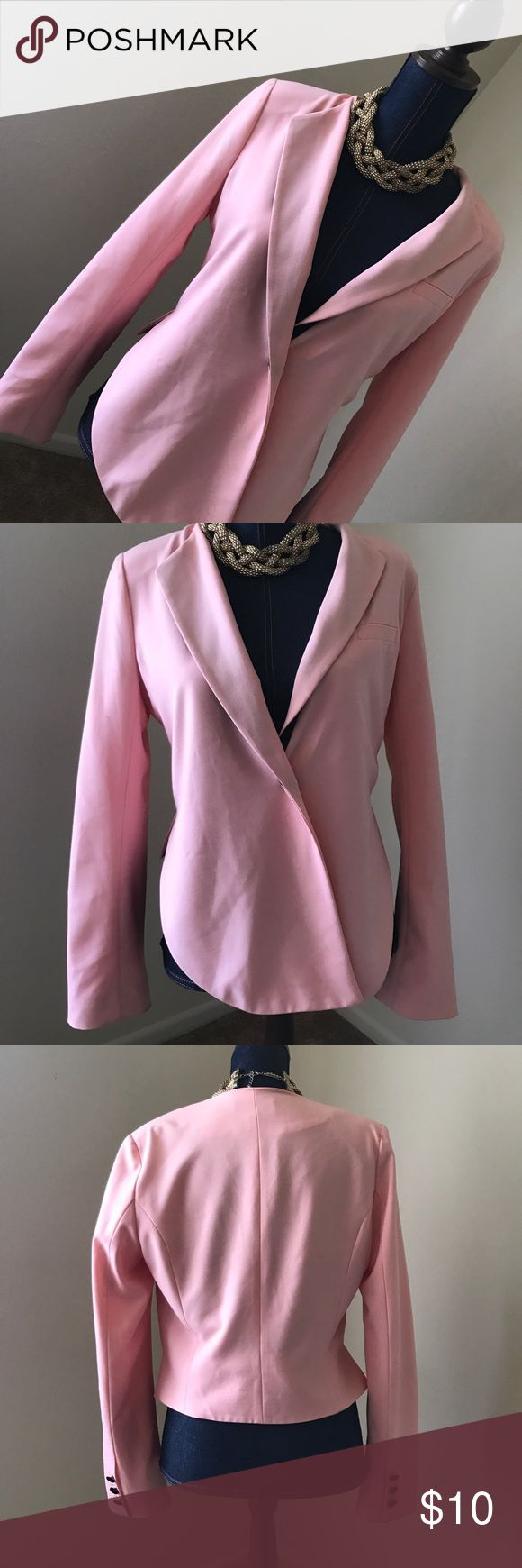 Light pink blazer Adorable pink blazer with black accents. ***slight stains as shown in photos**** price reflects the staining jaye.e Jackets & Coats Blazers