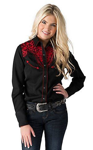 Panhandle Women's Black with Red Embroidery Long Sleeve Retro Western Shirt   Cavender's