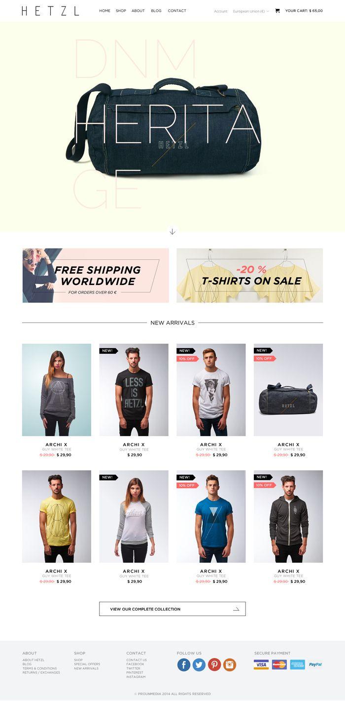 Diseño web de la tienda online de HETZL Clothing.