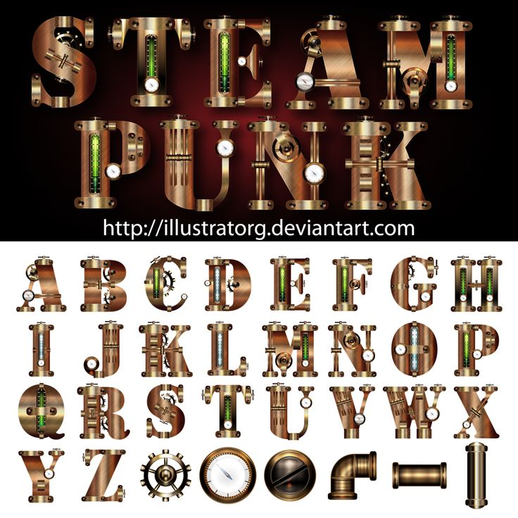 Steampunk FONT V3 by IllustratorG.deviantart.com on @deviantART