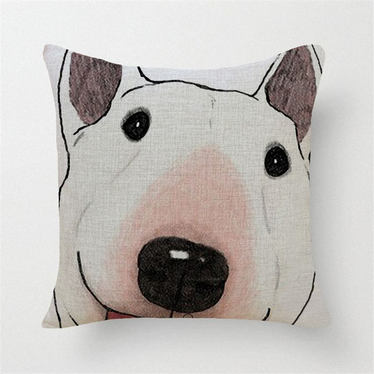 square cotton linen colourfu 3d bull terrier painted one side printed cheap cushion cover for home - Beste Wohnzimmerzubehor