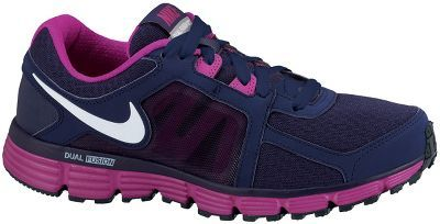 Nike Women's Dual Fusion Running Shoes Upper is sandwich of mesh and leather combined with a dynamic midfoot fit system provides a superior fit and running experience. Dual density midsole system of a firm Phylon carrier and soft interior. Phylon footed strategically angled to offer both medial support and cushioning. Classic waffle outsole pattern design for a smooth heel to toe transition. Weight: 10.6 oz. Women's Sizes: 5 - 12. Colors: Black/Scarlet/Silver, Blue/White/Scarlet, ...