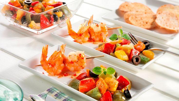 Warme salade met garnalen - zomer recept paprika