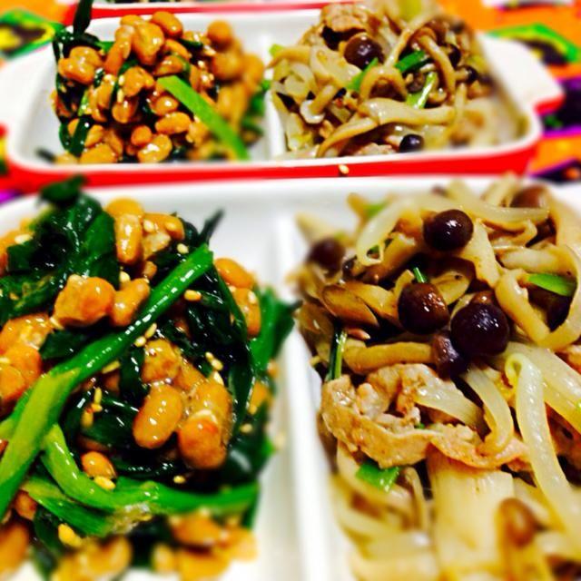 ニラ納豆美味しかったです〜(⌒▽⌒) - 88件のもぐもぐ - にゃんこmoさんのニラ納豆ときの子、豚肉、もやしの炒め物 by qpchan