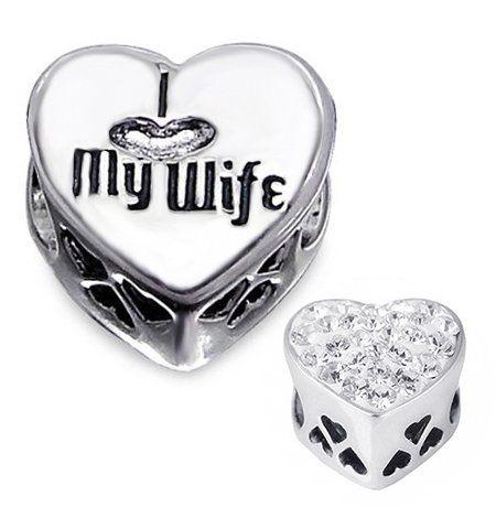I LOVE MY WIFE Charm Bead 925 Sterling Silver Fits Pandora Troll Biagi Chamilia Charm Bead Bracelets - List price: $44.00 Price: $25.99 Saving: $18.01 (41%)  #inBLISS