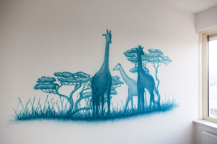 Safari silhouetten. Airbrush muurschildering in een stoere jongenskamer…