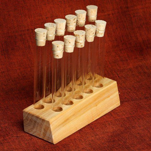 Empty Test Tube Block and 11 Test tubes - Great for Spices, Arts and Crafts - http://spicegrinder.biz/empty-test-tube-block-and-11-test-tubes-great-for-spices-arts-and-crafts/