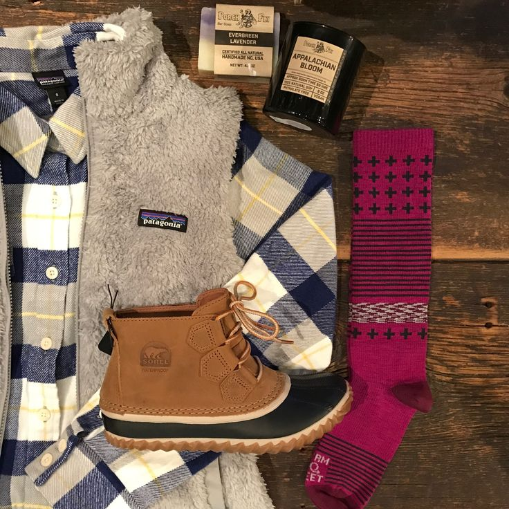 Gift Guide for Her / Patagonia Fjord Flannel, Los Gatos Vest, Sorel Out n About, Farm to Feet Socks / Apex Outfitter