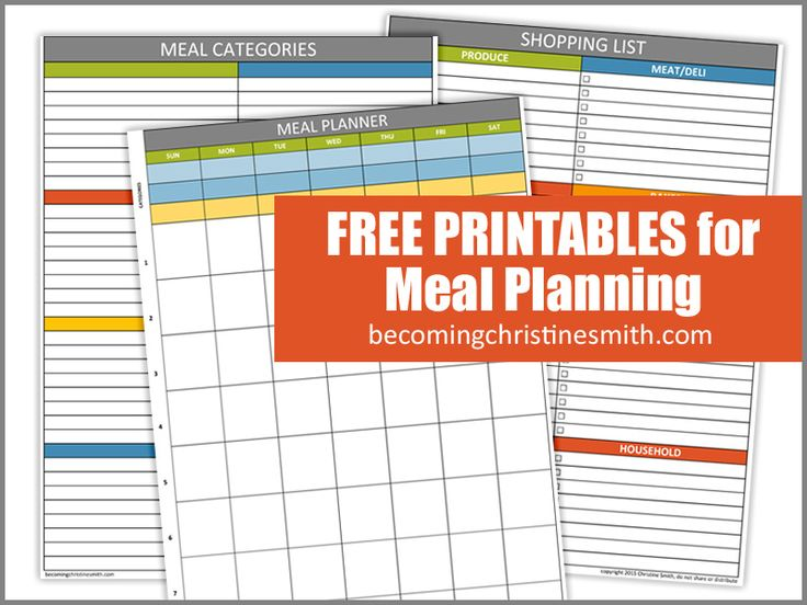 Free Meal Planning Printables - Becoming Christine Smith