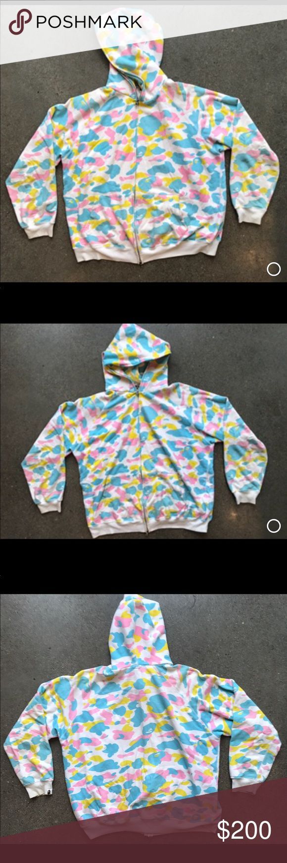 ♻️ A Bathing Ape Full Zip Hooded Sweatshirt XL A Bathing Ape Colorful Full Zip Hooded Jacket   Size - XL  Color - Pink/White/Yellow/Blue  Good condition   Authentic A Bathing Ape Shirts Sweatshirts & Hoodies
