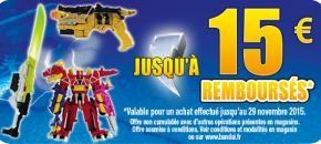 """En ce moment en #magasin, profite d'une super #promotion sur la gamme Power Rangers Dino Charge. Tu peux #économiser jusqu'à 15 € sur les produits phares de la nouvelle gamme de """"jouets Power Rangers. Va vite sur http://www.bandai.fr/  #PowerRangers"""