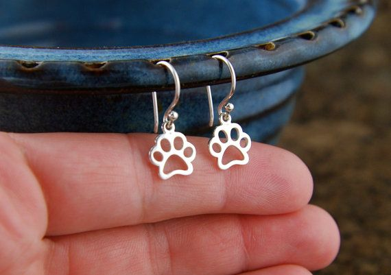 Paw print outline charm earrings in sterling silver, pawprint, cat paw, dog paw, heart charm, cat jewelry, dog jewelry, pets, canine, felin on Etsy, $24.00