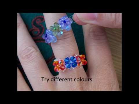 How to make a beaded ring step by step by http://www.Allbeads.org using Swarovski cristal beads.  This is an easy ring with three crystal flowers. Free pattern and tutorial in the video.