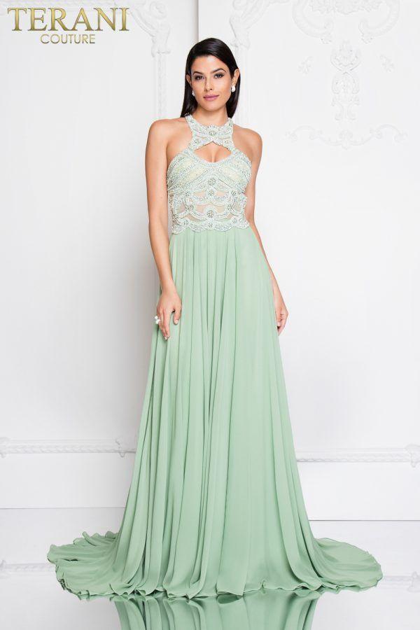 1812P5393 Moss Green Front Terani Couture 7f4e50342