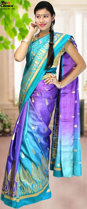 My Choice Silk Saree MCSSK-102 Blue Purple Party Wear Assam silk all over thread work with attach border saree.
