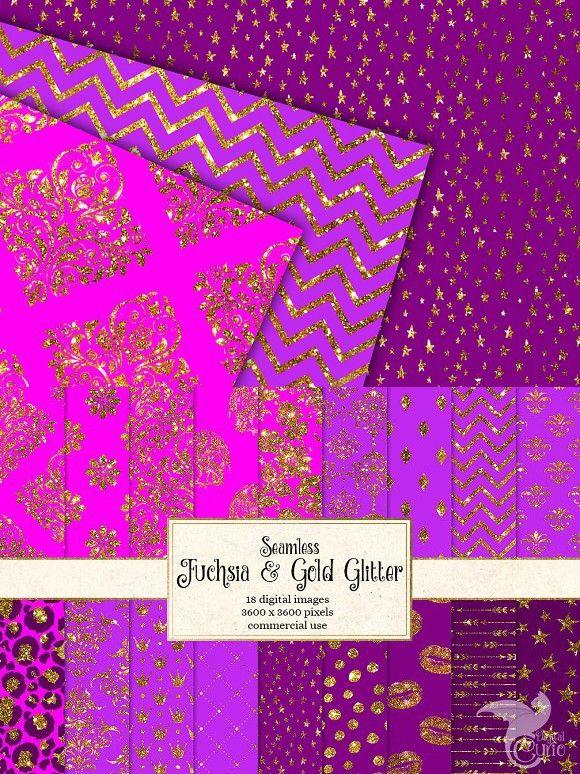 Fuchsia And Gold Glitter Patterns Gold Glitter Pattern Glitter