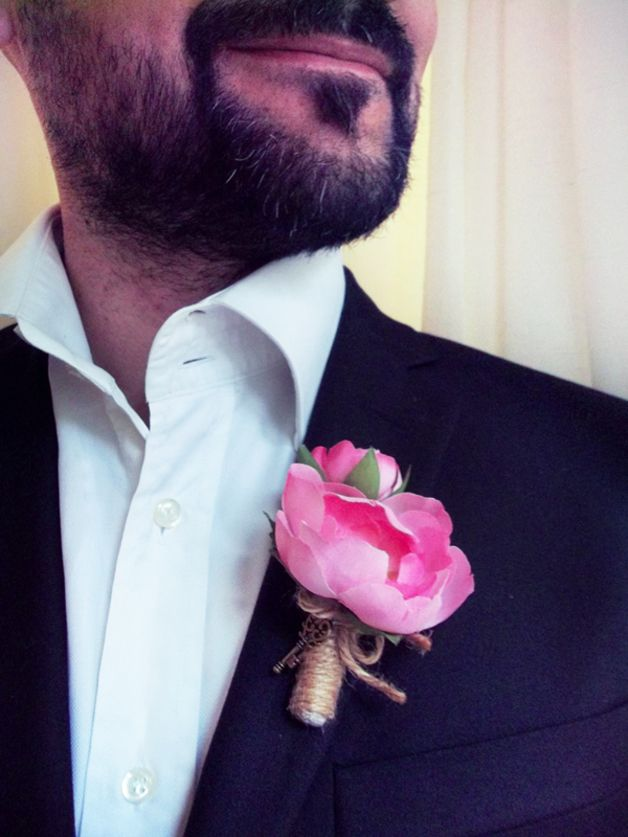 Men's Wedding Accessories – Groom's Boutonniere - Pink Ranunculus – a unique product by FOLKflor on DaWanda