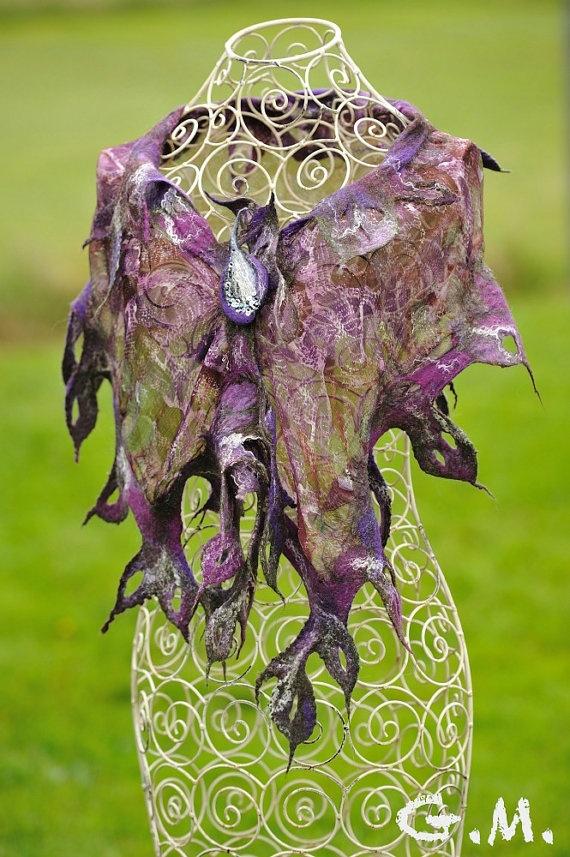 #Scarf. Felted Scarf .Nuno Felted Scarf .Handmade wool and silk scarf.#Chiffon Scarf.Leaf Scarf. http://www.lovelysilks.com