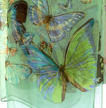 This pretty light-weight silk scarf features an explosion of colourful fluttering butterflies. It's sure to gain compliments. It is perfect for layering to bring you romantic and sweet look.