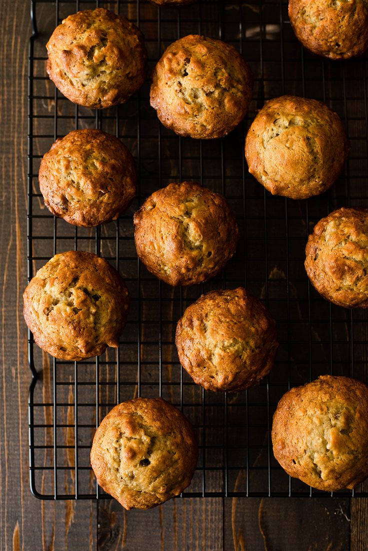 This is a pretty simple recipe for easy Banana Nut Muffins. They come out perfect: soft and dense, filled with banana and nutty goodness.