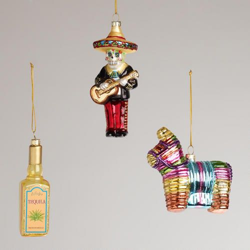 One of my favorite discoveries at WorldMarket.com: Mexico Glass  Ornaments, Set of 3. Purchased October 2014