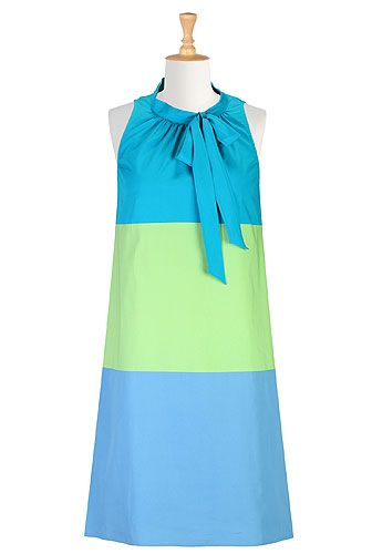 #eshakti turquoise mint green and airforce blue colorblock shift dress
